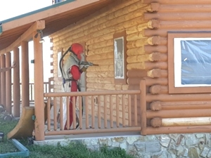Log Cabin Repair | Media Blasting a Log Cabin
